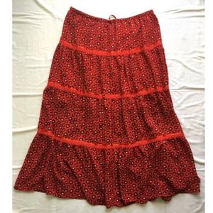 Emma James Red Patterned Boho Flowy Peasant Skirt